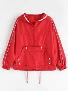 Contrast Piping Zipper Windbreaker Jacket - Red