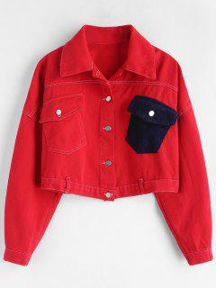 Drop Shoulder Pocket Crop Jacket - Red