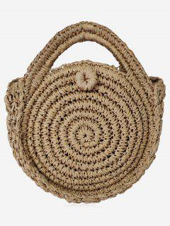 Braided Straw Round Crossbody Bag - Coffee