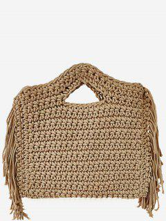 Mini Braided Straw Tassels Sling Bag - Camel Brown