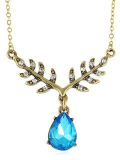 Collar De Cadena De Cristal Artificial En Forma De Gota De Agua - Vestido Azul