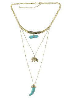 Collar De Cadena De Elefante De Gema Artificial - Oro