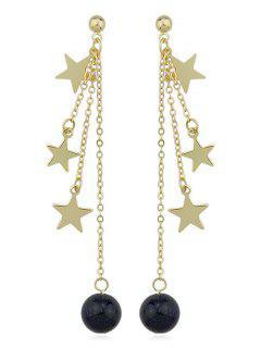 Pendientes De Cadena Larga Star Bead - Oro