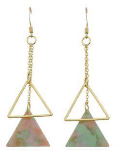 Double Triangle Long Dangle Earrings - Multi-a