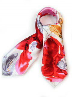 Flourishing Floral Silky Handkerchief - Love Red