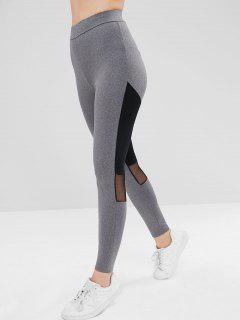Mesh Panel Two Tone Athletic Leggings - Gray L