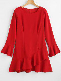 Flounce Shift Dress - Red Xl