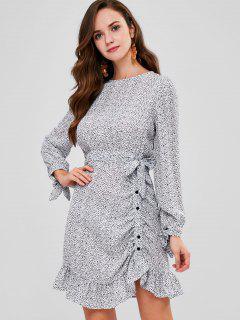 Long Sleeve Dotted Slit Chiffon Dress - Multi L