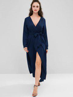 Vestido Largo De Manga Larga De Surplice - Azul De Pizarra Oscuro M