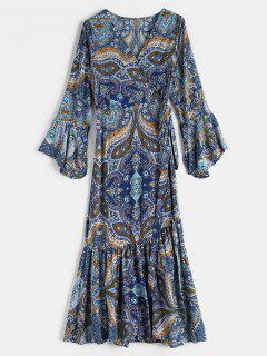 Floral Print Midi Wrap Bohemian Dress - Multi L