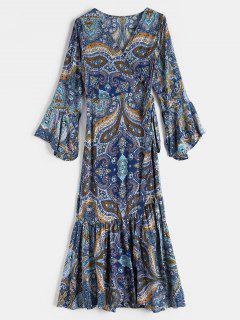 Floral Print Midi Wrap Bohemian Dress - Multi M