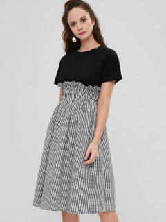 Smocked Contrasting Gingham Dress - Black