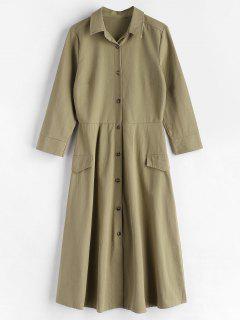 Long Sleeve Woven Midi Shirt Dress - Light Khaki L