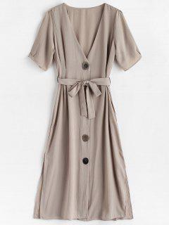 V Neck Button Front Midi Dress - Gray Goose L