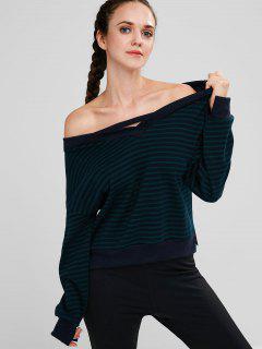 Skew Collar Striped Drop Shoulder Sweatshirt - Multi