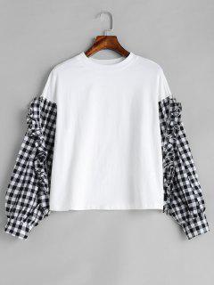 Long Sleeve Ruffle Checked T-shirt - White M