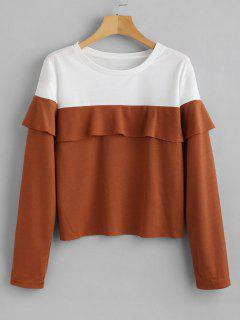 Two Tone Ruffles Top - Light Brown M