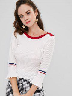 Flare Sleeve Knitted Contrast Sweater - White