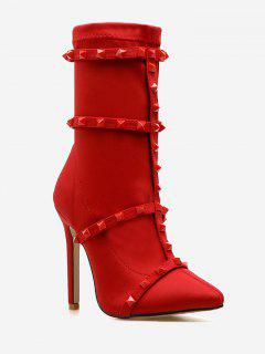 Stud Strap Elastic Ankle Boots - Chestnut Red Eu 37