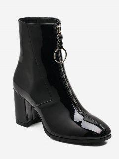 Chunky Heel Zip Front Short Boots - Black Eu 37