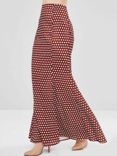 ZAFUL Dotted Maxi Skirt - Red Wine L