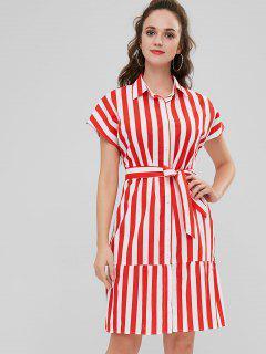ZAFUL Vertical Stripe Belted Shirt Dress - Multi S