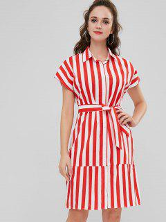 ZAFUL Vertical Stripe Belted Shirt Dress - Multi L