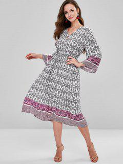 ZAFUL Long Sleeve Ethnic Print Dress - Multi L