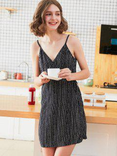 Cami Wrap Stripes Sleep Dress - Black M