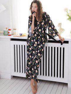 Floral Backless Pajama Set With Robe - Black M