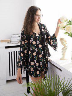 Floral Print Pajamas Set - Black L