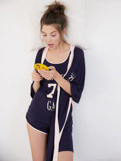 Contrasting Letter Graphic Pajamas Set - Midnight Blue M