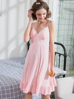 Spitzensaum Cami Nachthemd - Helles Rosa L