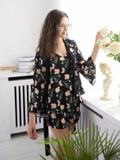 Floral Print Pajamas Set - Black M