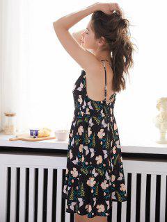 Vestido Cami Floral Para Dormir - Negro M