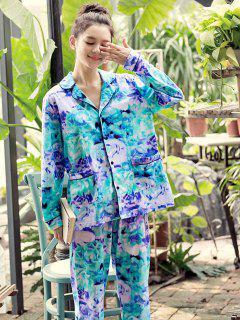 Pockets Tie Dye Pajamas Set - Multi L