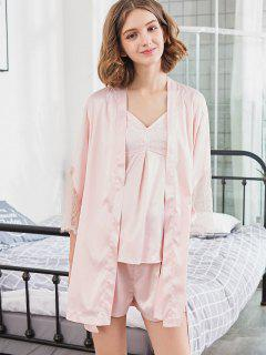 Stain Lace Letter Camisole Shorts With Robe - Pink L