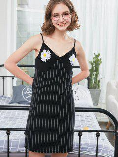 Sunflower Embroidery Night Dress - Black L