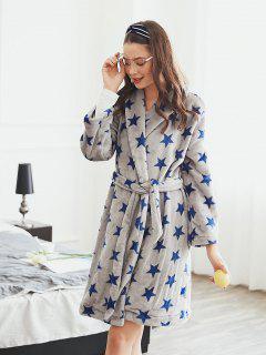 Robe De Nuit Etoile Avec Poches En Fourrure - Gris L