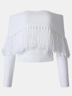 Tassel Off The Shoulder Sweater - White M
