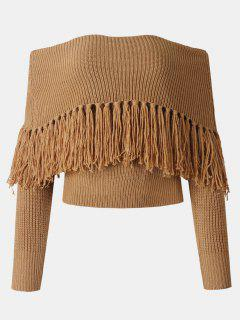 Tassel Off The Shoulder Sweater - Brown Xl