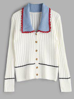 Button Front Detachable Collar Classic Cardigan - White