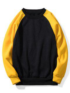 Raglan Sleeve Contrast Fleece Sweatshirt - Black S