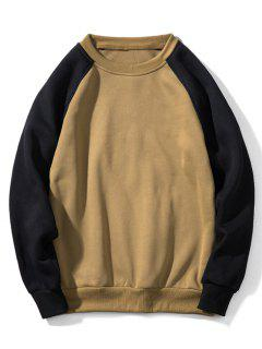 Raglan Sleeve Contrast Fleece Sweatshirt - Light Khaki M