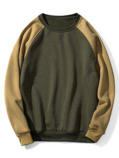 Raglan Sleeve Contrast Fleece Sweatshirt - Avocado Green Xl