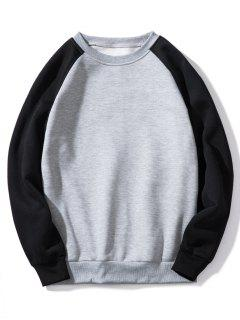 Raglan Sleeve Contrast Fleece Sweatshirt - Gray Xl