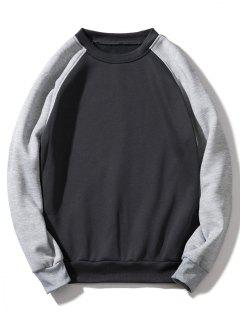 Raglan Sleeve Contrast Fleece Sweatshirt - Dark Gray L