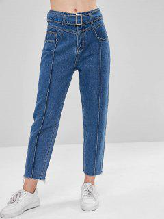 Belted Raw Hem Boyfriend Jeans - Denim Dark Blue L
