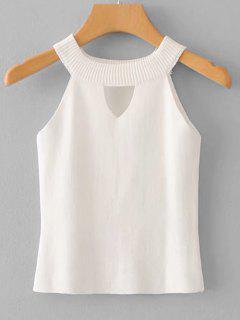 Keyhole Knit Top - White
