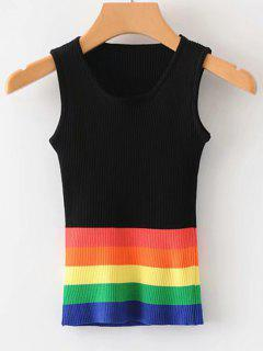 Strips Slim Kintted Tank Top - Black